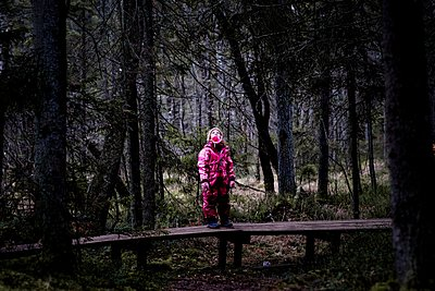young girl standing on a boardwalk in a forest in Sweden - p1166m2165833 by Cavan Images