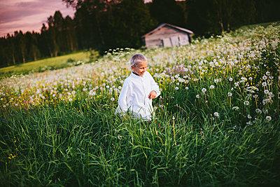 Boy walking through meadow - p312m2091359 by Matilda Holmqvist