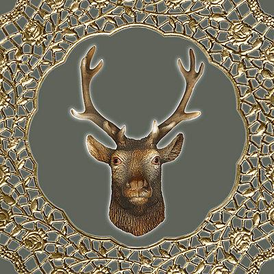 Hirsch mit Goldumrandung - p4150418 von Tanja Luther