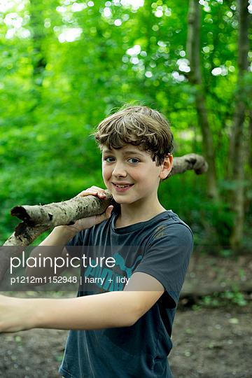 Junge trägt Ast im Wald  - p1212m1152948 von harry + lidy