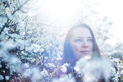 Woman in an ocean of blackthorn flowers - p310m2279015 by Astrid Doerenbruch
