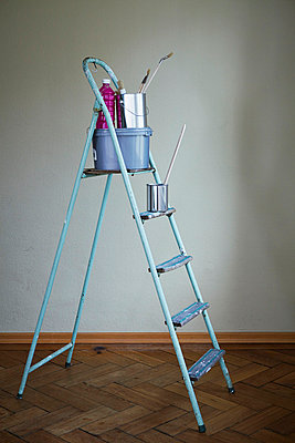 Home improvement, equipment on a ladder, Munich, Bavaria, Germany - p1026m857207f by Dario Secen