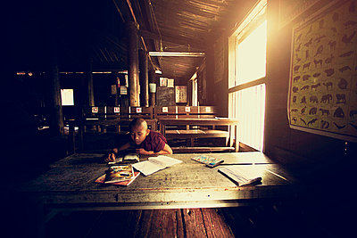 little monk, studying at the school. - p343m1088825 by Murat Emre