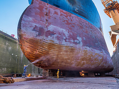 Ship in the dry dock, maintenance works - p390m2209189 by Frank Herfort