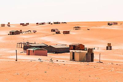 Bedouin tent camp in the desert, Wahiba Sands, Oman - p300m2104226 by Valentin Weinhäupl