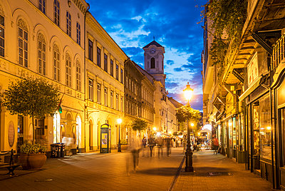Blurred view of people in street, Budapest, Hungary - p555m1312205 by ac productions