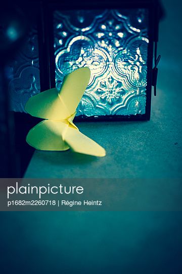 Paper butterfly emerging from a small lantern - p1682m2260718 by Régine Heintz
