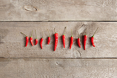 Directly above shot of red chili peppers arranged in row on wooden table - p301m1029259f by Halfdark