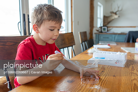 Boy doing science experiments at home at table - p1166m2269667 by Cavan Images