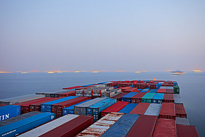 Container ship at the Gulf of Suez - p1099m882932 by Sabine Vielmo