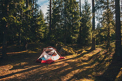 Tent in the woods, with a person sleeping inside in a sleeping bag - p300m2188689 by Gustafsson