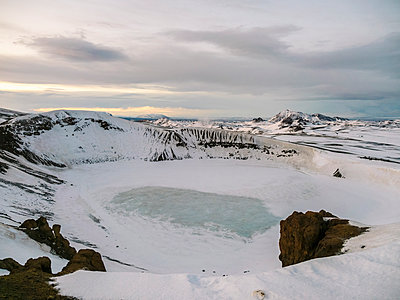 Krafla volcano frozen at surface in winter - p1166m2201396 by Tamboly Photodesign