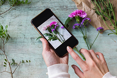 Woman's hands taking photo of flowers with smartphone - p300m2060268 by JLPfeifer