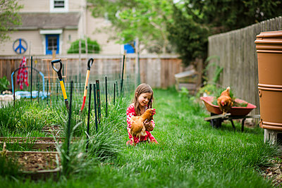 Girl playing with chicken while kneeling on grassy field at yard - p1166m2000582 by Cavan Images