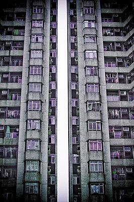 Apartment buildings in central Hong Kong, China (toned image). - p343m964801 by Jonathan Kingston
