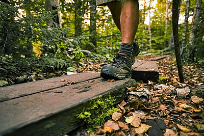 A Close-up Of Hiker's Boots Along The Appalachian Trail - p343m1203848 by Josh Campbell