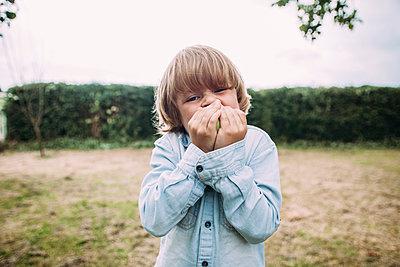 Little boy eating an apple - p586m1068295 by Kniel Synnatzschke