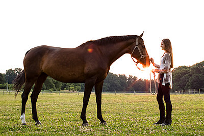 Teenage Girl Smiles at Brown Horse in Field at Sunset, With Sun Flare - p1166m2078245 by Cavan Images
