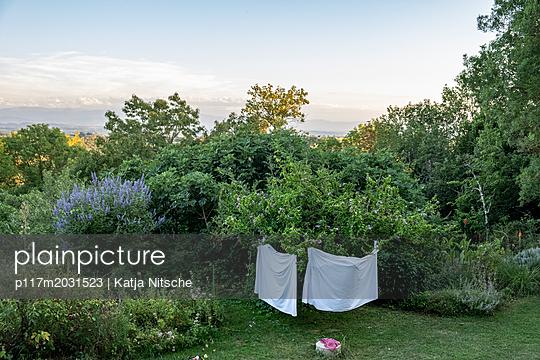 Wäsche im Garten - p117m2031523 von Katja Nitsche