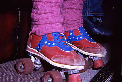 Retro rollerskates - p1072m830424 by Peter Davies