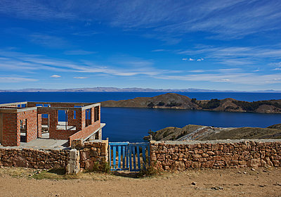 Building shell at Lake Titicaca - p390m1190335 by Frank Herfort