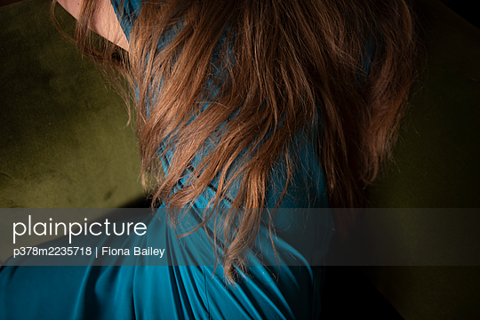 Hair and blue dress - p378m2235718 by Fiona Bailey