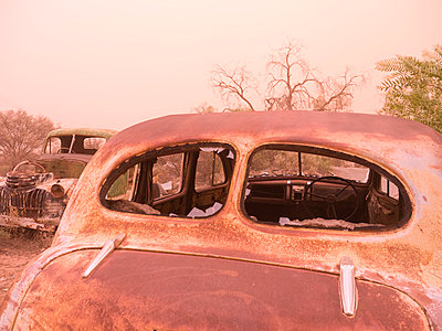 Car wreck in sand storm - p1016m792506 by Jochen Knobloch