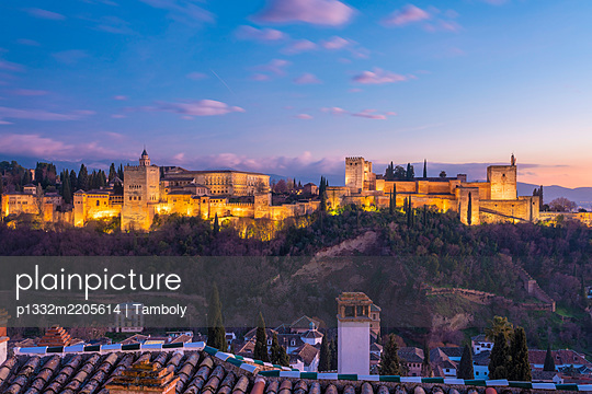 Spain, Granada, View of the Alhambra Palace with Sierra Nevada in the background - p1332m2205614 by Tamboly