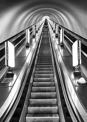 Ukraine, Kyiv, Arsenalna Metro Station Escalators, Currently The Deepest Station In The World, Part Of The Kyiv Metro Line - p651m2151920 by John Coletti photography