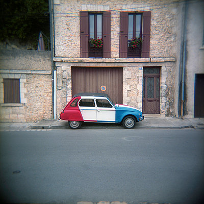 Vintage Citron 2CV Painted in the Colours of the French Flag - p1072m829210 by Neville Mountford-Hoare