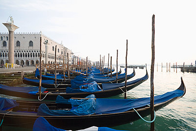 Gondolas in the early morning, Venice, UNESCO World Heritage Site, Veneto, Italy, Europe - p871m1073681f by Neil Emmerson