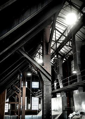 Stahlkonstruktion in einer alten Fabrik - p1154m1462074 von Tom Hogan