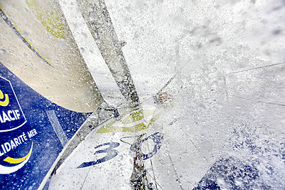 Onboard the IMOCA Open 60 Macif crewed by Francois Gabart and Michel Desjoyeaux during a training session before the Transat Jacques Vabre in the English Channel from Plymouth to Port la Foret after she won on her class the Rolex Fastnet Race. - p343m958225 by Christophe Launay