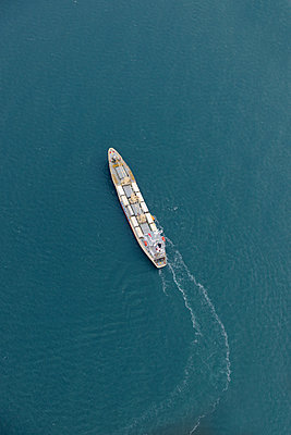 Container Ship aerial view - p1048m1069183 by Mark Wagner