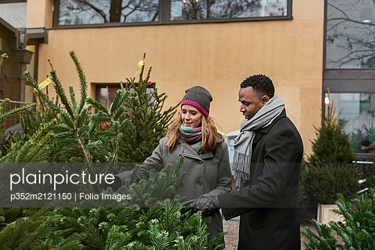 Couple Christmas tree shopping - p352m2121150 by Folio Images