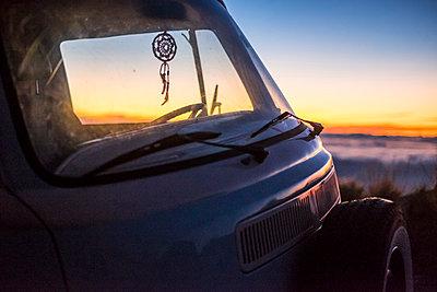 Spain, Tenerife, parked van at El Teide by twilight - p300m1505413 by Simona Pilolla