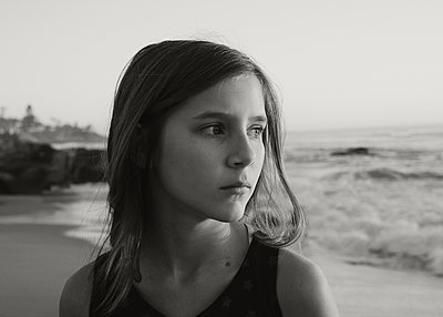 Girl Profile at Beach - p1503m2020436 by Deb Schwedhelm