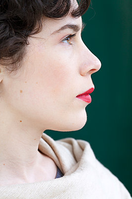 Woman with red lipstick - p873m2071070 by Philip Provily