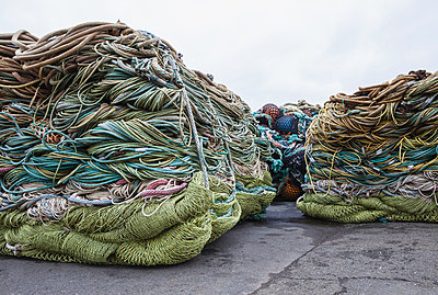 Commercial fishing nets at Fisherman's Terminal, Seattle, USA. - p1100m876503f by Paul Edmondson
