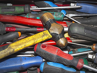 Collection of well used tools including hammer and screwdrivers; Spain  - p442m837815f by Ken Welsh