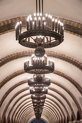 Ukraine, Kyiv, Arsenalna Metro Station, Currently The Deepest Station In The World, Part Of The Kyiv Metro Line, Chandelier Lighting - p651m2151916 by John Coletti photography
