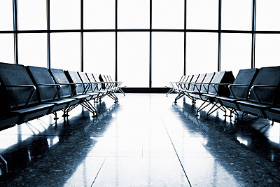 Empty Airport Waiting Area, Heathrow Airport, London, UK - p6945001 by Noll Images