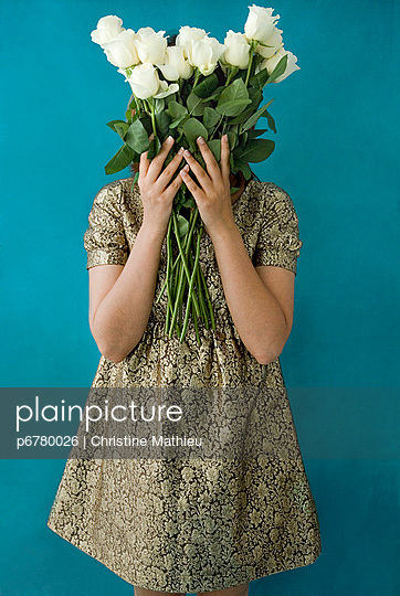 Golden dress and flowers - p6780026 by Christine Mathieu