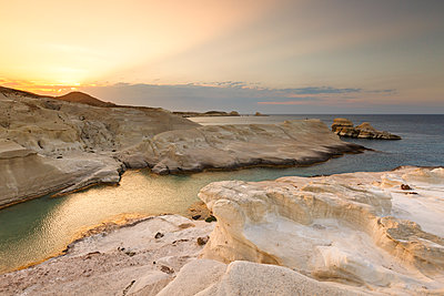 Volcanic rock formations on Sarakiniko beach on Milos island, Greece. - p1166m2151949 by Cavan Images