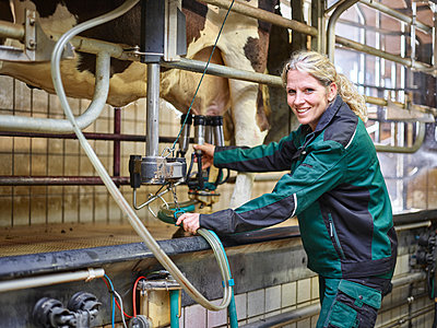 Portrait of smiling female farmer in stable milking a cow - p300m1567819 by Christian Vorhofer