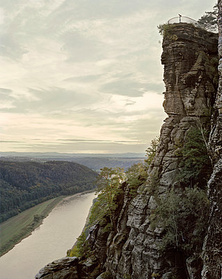 Rock formation 'Bastei' over Elbe River - p1012m929220 by Frank Krems