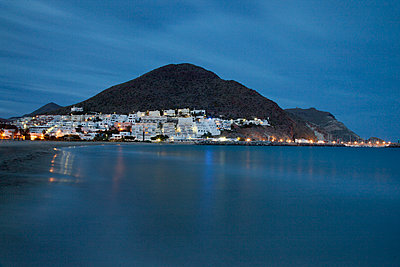 San Jose, Almeria, photographed at night. - p1072m906783f by Anthony Worobiec