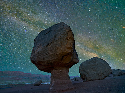 Milky Way and rock formation at Marble Canyon, Vermilion Cliffs National Monument, Arizona - p884m1356836 by Tim Fitzharris