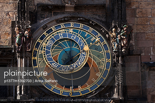 Prague astronomical clock, Prague orloj, at the Old Town Square - p1377m1392703 by Anna Serrano