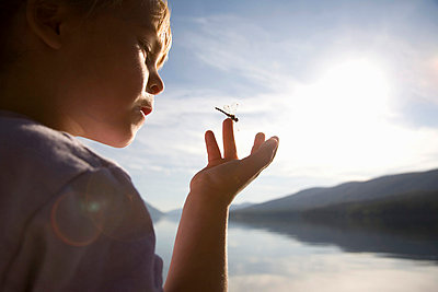 Dragonfly on girls hand with lake and mountains in background - p7800113 by Andrew Geiger